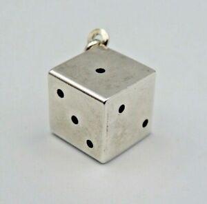 Silberanhänger 925 Silber Anhänger Würfel Spielwürfel glänzend für Damen