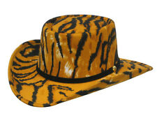Tiger Print Felt COWBOY GAMBLER HAT - Leather Band - Adult L - 7 1/4 to 7 3/8