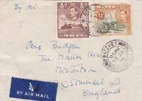 MALTA 1947 AIRMAIL to MISTERTON SOMERSET 5d rate VIA WATCHET