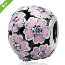 925 Silver Sterling Pink Primrose meadow daisy cherry Charm 4 European bracelet