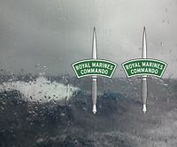 ROYAL MARINES COMMANDO DAGGER clear vinyl window sticker printed in reverse x 2