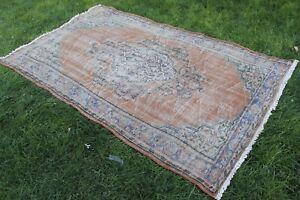 """Vintage Handmade Turkish Oushak Wool Anatolia Red Blue Area Rug  97""""x60"""""""