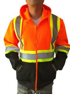 High Visibility Reflective Construction Work Fleece Hoodie Sweatshirt Jacket New