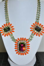 NIB $1295 RODRIGO OTAZU Coral Opal BDL Cut Crystal 3 Station Couture Necklace