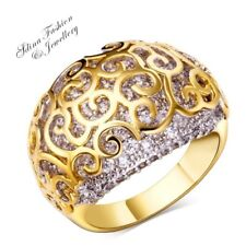Thick 18K Yellow Gold Filled Copper Diamond Studded Patterned Band Cocktail Ring