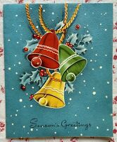 Vintage 1940s Christmas Colorful Holiday Chiming Bells Holly Blue Greeting Card