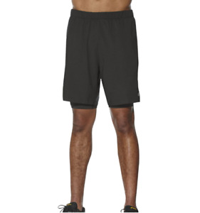 Asics Men's 2-in-1 Shorts 7 inch Sports Running Shorts - Black - New