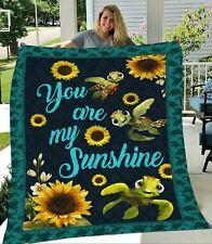 Sunflower Turtles You Are My Sunshine Premium Quilt, Fleece Blanket