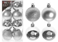 Albero di Natale Ornamenti Argento Palline Stella, Cuore, Gocce, Fiocchi