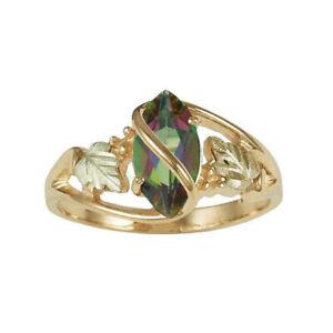 Women Fancy Mystic Fire Black Hills Leaf Yellow Gold Rings Party Wedding Jewelry