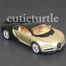"4.5"" Welly Bugatti Chiron Diecast Toy Car 43738D 2-Tone Black Gold"