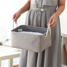Portable Gray Cotton & linen Storage Basket Home Organizer Pouch Sundries Bag