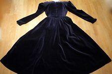 Vintage UK 10 Laura Ashley Midnight Blue Velvet Evening Gown Full Skirt