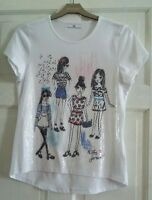 M&S girls t shirt white with sequin design fashion girls age 12-13 yrs