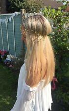 Champagne pearl spray dangle bead hair head band vintage Choochie hippy beach