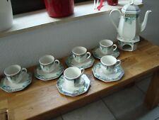 Villeroy & Boch PASADENA 6 Kaffeetassen mit Untertasse, Kaffeekanne und Stövchen