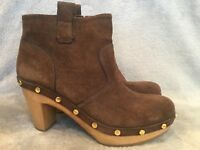 Tory Burch Studded Braun Suede Studded Burch Wooden Heel Ankle Stiefel Damenschuhe Größe 8 ... 39507b