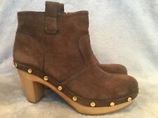 43e6cb7ac14d Tory Burch Brown Suede Studded Wooden Heel Ankle Boots Womens Size 8