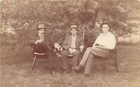 B15/ Indianapolis Indiana In Real Photo RPPC Postcard Men in Chairs 1908