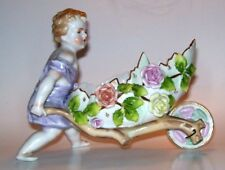 ANTIQUE VOIGT SITZENDORF GERMANY PORCELAIN CHERUB PUTTI FIGURE EASTER SPRING BOY