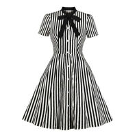 Ladies 1940s 50s Rockabilly Vintage Style Retro Womens Party Striped Swing Dress