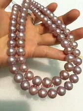 """LONG AAAAA 35""""10-11MM REAL south sea pink purple lavender pearl necklace 14K"""
