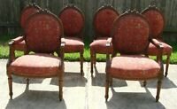 Antique Set of 6 French Louis XVI Carved Walnut Dining Room Chairs Coral Rose