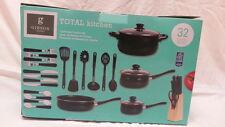 Gibson Kitchen Pots Pans 32 Piece Nonstick Cookware Set Tempered Glass Lid