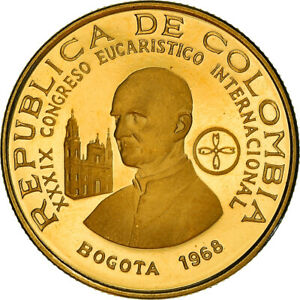 [#867745] Coin, Colombia, 100 Pesos, 1968, Bogota, Proof, MS(63), Gold, KM:231