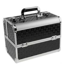 Aluminum Makeup Train Case Jewelry Box Travel Cosmetic Organizer Case Black