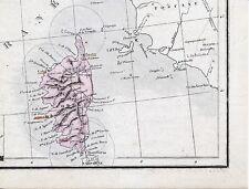 La Corse Toscane Elbe 1875 carte/lin (partie) orig. Calvi Sartène Bastia Ajaccio