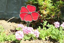 Stained glass poppy garden stake