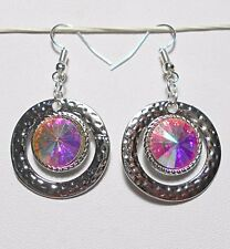 Dangle earrings - silver with clear a.b. faceted glass centre