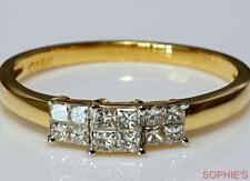 Diamond Three-Stone Yellow Gold Fine Rings