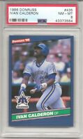 1986 DONRUSS #435 IVAN CALDERON, PSA 8 NM-MT, SEATTLE MARINERS, L@@K !