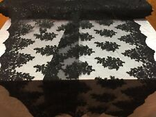 Lace Fabric -Embroidered Sequin Mesh Flower  For Wedding Dress By The Yard Black