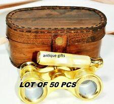 Marine Brass Set Of 50 Nautical Binocular Mother of Pear Binocular W/Leather box