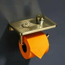 Zinc Alloy Toilet Paper Holder with Phone Shelf Toilet Tissue Rack Brushed Gold