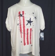 CHAPS Shirt Women's 1X White USA Flag Short Sleeve New $55