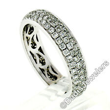18K White Gold 1.05ctw 3 Row Pave Round Brilliant Diamond Wide Domed Band Ring