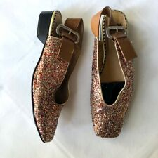 Toga Pulla glitter leather slingback party flats UK7 EU40 Net A Porter
