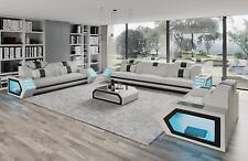 Sofagarnitur Moderne Design Sitz Polster Couch Leder Garnitur 3+2+1 B3 Weiß