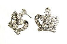 Silver Gold Crown Ear Stud Drop Earrings Royal Diamante King Queen Princess Gift