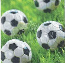 4 Single paper decoupage napkins. Go for goal, football, grass -511