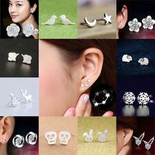 925 Sterling Silver Plated 3 Star Stud Earrings Ear Jewellery Women Small Animal