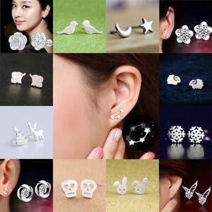 Solid 925 Sterling Silver 3 Star Stud Earrings Ear Jewellery Women Small Animal