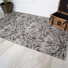 Graphite Grey Floral Flatweave Rug Washable Easy Clean Damask Indoor Outdoor Mat