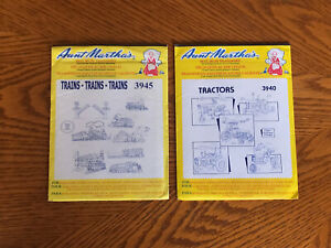 Vintage New & Sealed! Set of 2 Aunt Martha's Hot Iron Transfers TRACTORS TRAINS