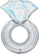 "Platinum Wedding Ring Shaped 38"" Foil Balloon"