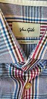 Van Gils Blue Button Down long sleeve Shirt Size 43/16 1/2 Plaid Red Blue green